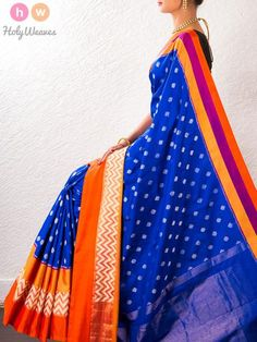 Blue Handwoven Katan Silk Pochampally Saree - HolyWeaves - 1