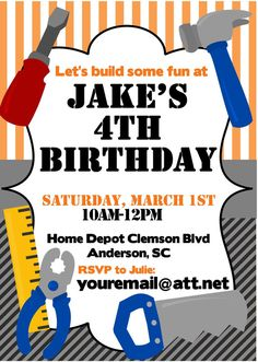 Home Depot Birthday Party Printable Invitation By 3SweetMemories Construction Parties