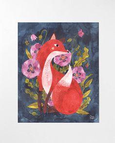Fox and Flora - 8x10 art print
