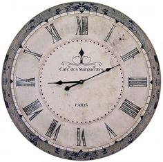 French Word Wall Clock - Cafe De Marguerites Aged antique effect wall clock that will bring French chic to your home! Cafe des Marguerites - Paris This line is available in 3 other fabulous French themed desig