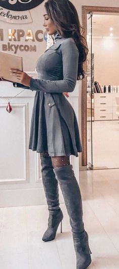 #winter #outfits grey long-sleeved dress with pair of grey suede knee-high boots outfit #kneehighbootsoutfit