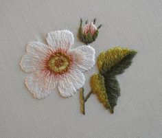Ribbon Embroidery For Beginners Sew in Love - Rose from Trish Burr's 'Needle Painting Embroidery, Fresh Ideas for Beginners' Learn Embroidery, Hand Embroidery Stitches, Embroidery For Beginners, Silk Ribbon Embroidery, Crewel Embroidery, Embroidery Kits, Embroidery Techniques, Embroidery Designs, Hand Embroidery Tutorial