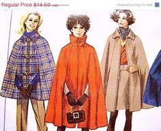 1960s Simplicity  Womens Cape Pattern Coat Misses Size10 Uncut 2 Lengths Cape, Pants, A-line Skirt