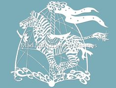 Bluebell the Carousel Zebra Papercut TEMPLATE .PDF by MadMarchMoon
