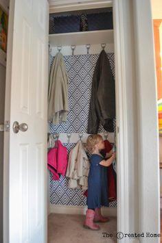 Small hall closet makeover Coat closet makeover~ The Created Home Small Coat Closet, Small Closets, Shoe Closet, Girl Closet, Coat Cupboard, Closet Under Stairs, Coat Closet Organization, Organize Coat Closet, Organization Ideas