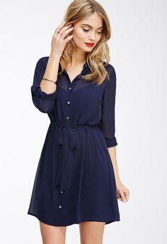 Chiffon Button-Down Shirt Dress | Forever 21 Canada