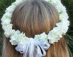 Flower Girl, First Communion, Wedding Flowers, Ivory/White silk Hydrangea Halo, Hair Wreath