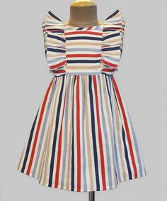 Another great find on #zulily! Navy & Red Stripe Ruffle Dress - Infant, Toddler & Girls #zulilyfinds