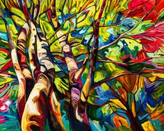 Painting by Julia Veenstra Art Pictures, Art Images, Photos, Abstract Tree Painting, Canadian Art, Colorful Paintings, Art Challenge, Wildlife Art, Tree Art
