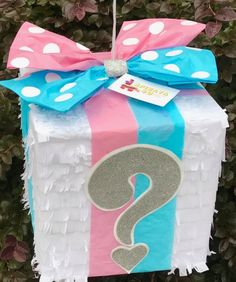 Ready to Ship Gender Reveal Pinata Gift Box Pink & Blue Bow- Ready to Ship Gender Reveal Pinata Gift Box Pink & Blue Bow Gift Box with Pink & Blue Bow Gender Reveal Piñata - Gender Reveal Pinata, Gender Reveal Gifts, Gender Reveal Party Games, Gender Reveal Party Decorations, Gender Party, Baby Shower Gender Reveal, Reveal Parties, Pregnancy Gender Reveal, Gender Reveal Balloons
