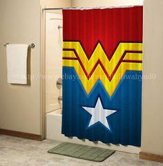 Details About SUPER HERO WONDER WOMAN Shower Curtain High Quality Bathroom 60x72 Inch