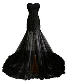 Zorabridal Vintage Gothic Mermaid Beaded Lace Black Wedding Dress for Bride 20 Plus *** You can get more details by clicking on the image.
