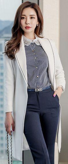 StyleOnme_ Modern Stitch Line Detail Waist Tie Long Coat #ivory #coat #chic #workwear #koreanfashion #kstyle #kfashion #springtrend #seoul #dailylook