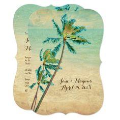 PixDezines Vintage Hawaiian Beach/teal Invitation