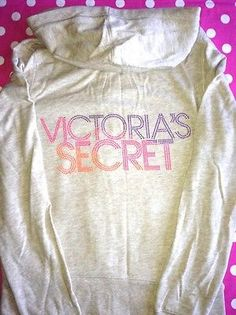 New Victoria Secret Supermodel Essential Pink Bling Zip Hoodie sweat Shirt M | eBay