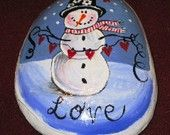 Snowman winter love rock. Handpainted with acrylic.