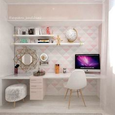 Likes, 49 Comments - Arquitetura Interiores ( . - home design ideas - Makeup Bedroom Desk, Room Ideas Bedroom, Small Room Bedroom, Girls Bedroom, Girl Room, Master Bedroom, Master Closet, Trendy Bedroom, Diy Bedroom