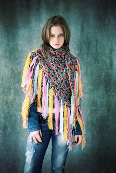 Multicolor Silk CDB Shawl.  To purchase, please email us at PROMO@CECILIADEBUCOURT.COM    Photographed by CECILIA DE BUCOURT