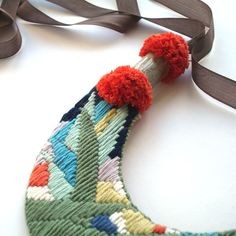 Forest Necklace A, hand-embroidered