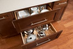 Two Drawer Base: Great for organizing dishes, cookwares, or all of those cereal boxes!