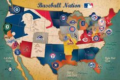 This is a picture of a map full of Major League Baseball teams all over the United States. I like this part because I like to learn about locations where baseball fields are located at.