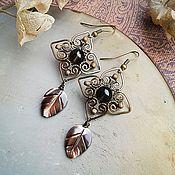 "Handmade Jewelry. Fair Masters - handmade earrings ""Noble"" rauchtopaz, nacre. Handmade."