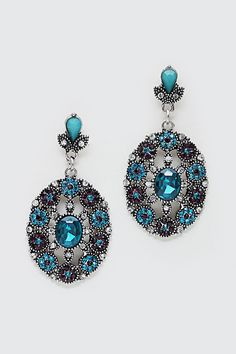 Crystal Rosette Earrings in Blue Teal on Emma Stine Limited