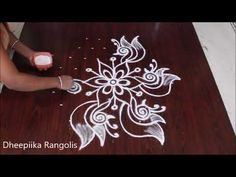 simple rangoli designs with 7x4 dots || easy kolam designs for beginners || muggulu with dots - YouTube