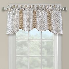 Add a sophisticated look to your window with the Darrow window valance. It has beautiful all-over embroidery and is scalloped to give it fullness and dimension.