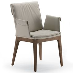 Chair with or without arms in natural oak (RN), Canaletto walnut painted oak (RNC) or wenghe¨ stained oak (RW). Seat and back upholstered in fabric, synthetic leather or soft leather.