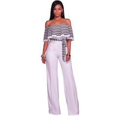 Women 2017 Fashion Ladies Office Jumpsuit Romper Pleated Slash Neck Wide leg Long pants Playsuit Summer Belted Overalls Career
