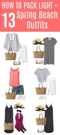 How to Pack Light for Your Spring Getaway + 13 Beach Vacation Outfits Going somewhere? Get there in style with these thirteen vacation outfits for your spring beach getaway. As an added bonus, all of the pieces will fit in your carryon. Beach Vacation Packing, Beach Vacation Outfits, Spring Vacation, Beach Vacations, Vacation Style, Beach Trip, Vacation Rentals, Summer Beach, Plus Size Bikini Bottoms