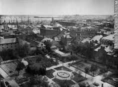 Bird's-eye view of the seminary gardens, Montreal, Quebec… Old Montreal, Montreal Ville, Montreal Quebec, Victorian Street, Colonial Architecture, Parcs, Birds Eye View, Native American Indians, Far Away