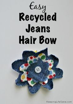 Recycled Jeans Hair Bow - Keeping Life Sane