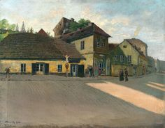 Jan Minařík - Vratislavova ulice (1908) Old Paintings, Prague, Old Houses, Folk Art, Cities, Places, Design, Europe, Historia