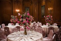 pink self tie chair covers and...