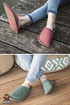 Fuzzy slippers for men aand women made of wool felt. #fuzzyslippers #slipperemen #slipperswomen #slippers #feltslippers Fuzzy Slippers, Felted Slippers, Diy Bags Purses, Natural Rubber Latex, Doll Tutorial, Womens Slippers, Customized Gifts, Wool Felt, Heeled Mules