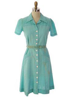 Vintage Seersucker Dress Waitress Uniform Seafoam Green 1940s #WinBestVintage