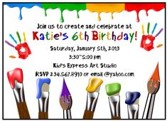 Art Invitations Painting Party Birthday Party Paint Box Paint