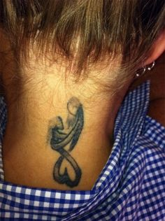 Sign for mother and daughter's love tattoo on neck