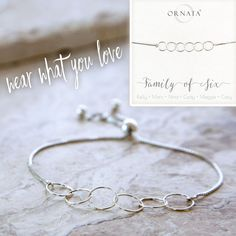 Family of Six Sterling Silver Bracelet on Personalized Jewelry Card – Ornata