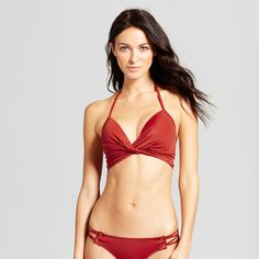 Women's Shore Twist-Front Light Lift Bikini Top - Shade & Shore Picante 34DDD, Brown