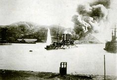 Russian cruiser Pallada under attack at the Siege of Port Arthur during the Japanese-Russo War.