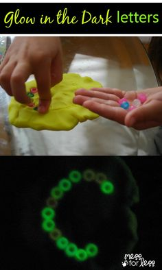 Glow In The Dark Letters - Fine Motor Skills Activity. This activity not only helps with fine motor skills, but letter recognition and formation. The glowing makes it even more fun!