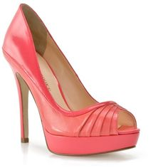 Audrey Brooke Cross 2 Pump - Coral ($70) found on Polyvore