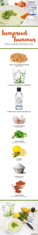 Hempseed Hummus with Liquid Coconut Oil Ingredients kitchen.nutiva.com