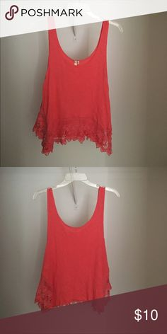 Pink tank top 100% rayon with lace detail along the bottom of the front. Never worn Tops Tank Tops