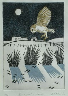 """Barn Owl in Snow"" by Malcolm Davies"