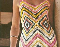 Vintage 1970s Chevron Crochet Maxi Sun Dress Pattern  PDF 7402