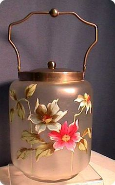Biscuit Jar or Barrel American Glass Hand Painted ❤❤❤